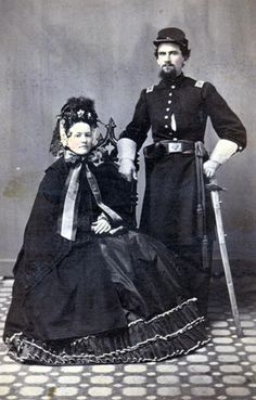 Unidentified Union Captain and woman. to They were always so elaborate. But I really do think that I am obsessed with this time period. (Civil War or Victorian Era. American Revolutionary War, American Civil War, American History, Historical Clothing, Historical Photos, Vintage Photographs, Vintage Photos, Antique Photos, Civil War Dress