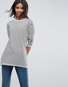 Asos Stripe T-Shirt with Long Sleeve in Oversize Fit Mode Online Shop, Latest Fashion Clothes, Fashion Online, T Shirts For Women, Clothes For Women, Striped Tee, Pretty Outfits, Pretty Clothes, Dress Codes