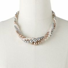 bridesmaid jewelry - twisted pearls multicolored: Croft and Barrow Simulated Pearl Twist Multistrand Necklace $13