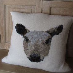 Bluefaced Leicester Sheep Cushion - Pattern by Marie Wallin. Designed for Wool Week 2014, this striking intarsia cushion is handknitted using Rowan Fine Tweed.