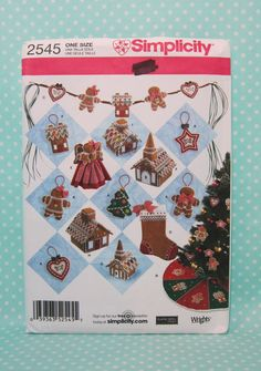 Christmas Gingerbread Decorations Pattern. Cheapest Shipping Simplicity 2545. Gingerbread House Pattern, Gingerbread Tree Skirt Pattern by FashionSew on Etsy