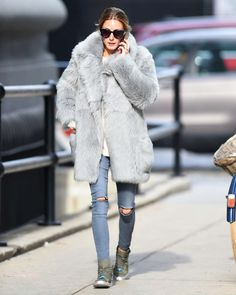 Olivia Palermo kept warm in Brooklyn, sporting a $3,200 Tibi Grey Shearling  Toscana Peacoat and