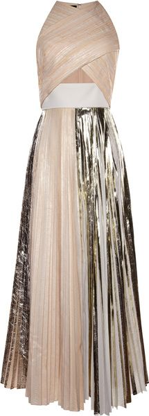 Proenza Schouler Platinum Foil Print Pleated Cloque Sleeveless Pleated Dress - Lyst