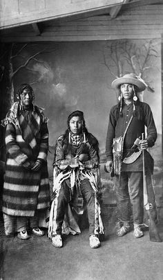 Three young Blackfoot men. Date: [ca. 1887] Photographer/Illustrator: Ross, Alexander J., Calgary, Alberta