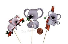 Koala Bear Cupcake Toppers Koala Party Decor Custom Hand Made Toppers Birthday Animal Zoo Jungle Koala Party Toppers Koala Bear by PartySurprise on Etsy Bear Party, Jungle Party, Woodland Party, Safari Party Decorations, Bear Cupcakes, Balloon Dog, Animal Birthday, Latex Balloons, Cupcake Toppers
