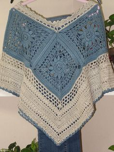 Crochet Summer Poncho with Granny Square Hippie Beach Crochet Poncho Patterns, Crochet Blouse, Crochet Shawl, Hand Crochet, Crochet Stitches, Knit Crochet, Granny Square Poncho, Granny Square Crochet Pattern, Crochet Squares