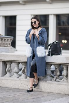 dsc_1352 Online Fashion Stores, Fashion Black, Street Fashion, Faux Fur, Duster Coat, Women Wear, Street Style, Flats, Flat Shoes