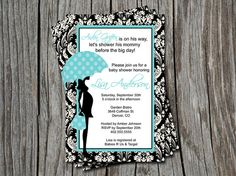 Black Damask Blue Baby Shower Invitation by ATimeAndPlaceDesign, $12.00