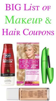 BIG List of Makeup and Hair Coupons: $3.00 off 1 Revlon, $1.00 off 1 CoverGirl, $1.00 off 1 V05 + more!