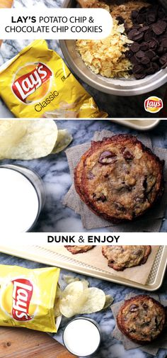 Sweet and salty come together as a dynamic duo in these irresistible chocolate chip potato chip cookies. Simply add crushed LAY'S potato chips to this classic cookie recipe. Then serve them up fresh f (Baking Potato Chips) Just Desserts, Delicious Desserts, Yummy Food, Lays Potato Chips, Cookie Recipes, Dessert Recipes, Potato Chip Cookies, Brownies, Biscuits