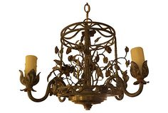 "Italian Tole Chandelier - ""Four-light floral tole chandelier painted in a soft greenish-gray. Newly wired and in working condition."""
