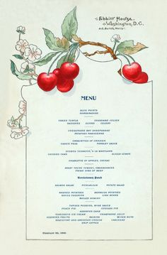 I have a restaurant menu circa 1900 to share with you that I find really pretty. The menu was from a hotel called Ebbitt House in Washington D.C.
