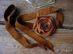 Leather rose wristlet.