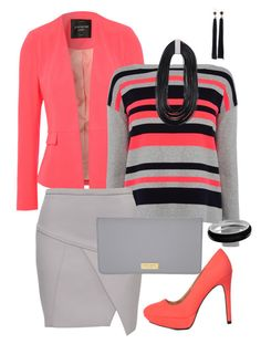 Coral and Grey collection by jofobbester on Polyvore featuring polyvore fashion style Karen Millen Jane Norman Charlotte Russe Henri Bendel ZENZii Croft & Barrow Forever 21 clothing