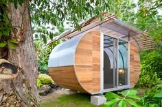 """Residential Architecture: House Arc by Bellomo Architects: '""""..a modular, prefab housing system..designed to be 100% off the grid, the 150-square-foot unit can be flat-packed and shipped in a box that is 4x10x3 feet in size.considered a model for compact living, the structure's curvaceous shape is formed from a lightweight frame made of steel tubes -when complete it weighs only 3000 pounds. the intention of 'house arc' is to aid people located in areas devastated bynatural disasters and ot..."""
