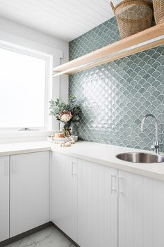 Our new 'Fresh' edition is packed with beautiful bathrooms plus 10 top laundry design tips. Available for pre-order now and delivered early March (also out in newsagents early-mid March). Kitchen Reno, Kitchen Cabinets, Kitchen Laminate, Laminate Cabinets, Kitchen Modern, Fish Scale Tile, Small White Kitchens, Laundry Design, Cabinet Makers