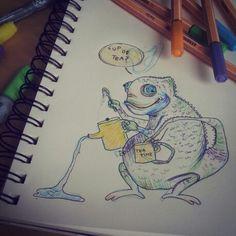 Cup of tea?, Illustration von einem Chamäleon beim Tee servieren... ob das mit den vorhandenen Blickwinkeln wohl klappt?