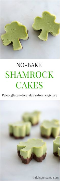 Patty's Day No-Bake Shamrock mini cakes - a paleo gluten-free egg-free naturally colored dessert or snack recipe. The cake is a cross between a dairy-free cheesecake and a panna cotta and has a chocolate no-bake pie crust. Kid friendly too! Healthy Holiday Recipes, Healthy Dessert Recipes, Real Food Recipes, Delicious Desserts, Snack Recipes, Paleo Recipes, Paleo Treats, Keto Snacks, Yummy Recipes