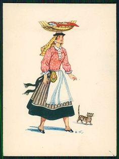 Art Emerico Nunes Ethnic Folk Dress Costume Lisboa Portugal Old 1950s Postcard   eBay