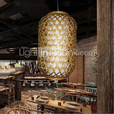 Vintage Mini Style Others Wood/Bamboo Pendant Light Living Room / Dining… Coffee Shop Lighting, Bamboo Pendant Light, Living Room Lighting, Chandelier, Bulb, Ceiling Lights, Dining, Wood, Vintage