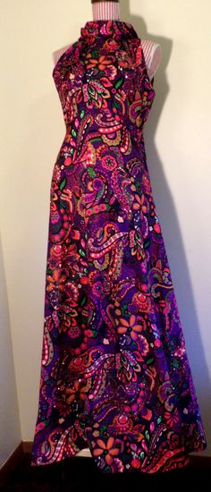 Vintage 1960's Psychedelic Mod Paisley Purple Print by Joiedeglam
