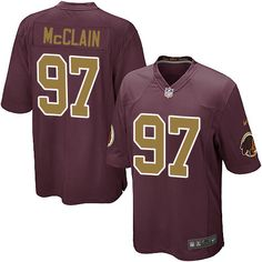 Men's Nike Washington Redskins #97 Terrell McClain Game Burgundy Red/Gold Number Alternate 80TH Anniversary NFL Jersey