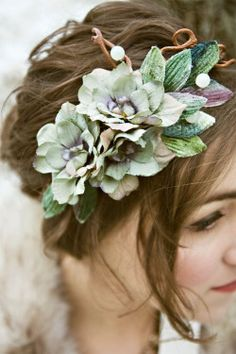 Love this leafy flowery head piece Style Sweets Editors Pick: backyard wedding garden rustic outdoor lace bridal gown bride groom pie flower girl vintage engagement ring diamond invitation white ivory green brown Woodland Wedding, Rustic Wedding, Floral Wedding, Forest Wedding, Hair Wreaths, Wedding Hair And Makeup, Hair Wedding, Wedding Crowns, Prom Hair
