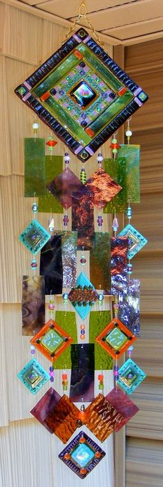 Kirks Glass Art Fused Abstract Stained Glass Wind Chime windchime - God's Eye