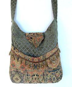 Tapestry Gypsy Bag Brass Bead Fringe Messenger Bag Bohemian  large bag renaissance bag messenger bag medieval bag. $58.00, via Etsy.: