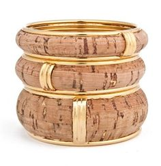 Cork and Gold bangles by Robyn Brooks NY Gold Diamond Earrings, Gold Bangles, Gold Jewelry, Diy Cork, Wine Cork Crafts, Elements Of Style, Jewelry Trends, Jewelry Ideas, Jewelry Collection