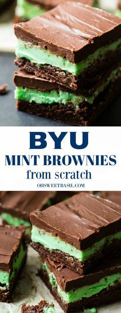 Alright, these Copycat BYU Mint Brownies from Scratch were a long time overdue, but here we are and you're just going to love them! We even provide a brownies from scratch recipe! Mini Desserts, Just Desserts, Delicious Desserts, Yummy Food, Brownies From Scratch, Dessert From Scratch, Recipe From Scratch, Brownie Recipes, Cookie Recipes