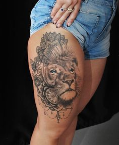 Lion tattoo by Janis. Limited availability at Redemption Tattoo Studio. Lion tattoo by Janis. Limited availability at Redemption Tattoo Studio. Mandala Tigre, Tattoo Studio, Body Art Tattoos, Sleeve Tattoos, Tatoos, Leg Tattoos Women, Woman Tattoos, Female Tattoos, Lioness Tattoo