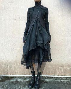 Marc Le Bihan Double Layers Jacket And Skirt Guidi Front Zip Horse Leather Boots Long Sleeve Cotton Dress, Cotton Dresses, Dark Fashion, Gothic Fashion, Fashion Fashion, High Fashion, Fashion Trends, Estilo Dark, Mode Sombre