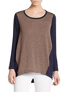 Lafayette 148 New York Stretch-Wool Hi-Lo Top - Nordic  - Size L