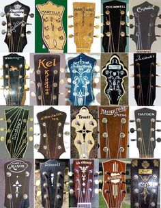 From 1929 through 1961, Gibson guitars made many other brands. Here are the pegheads of some of the models.