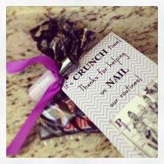 """Gift for dance coach. Crunch candy bars and nail polish. """"It's CRUNCH time! Thanks for helping us NAIL our routines!"""""""