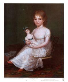 Girl Holding a Doll Art Print