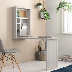 A pull-down desk that looks like a wall cabinet when folded up — perfect for people who are working with limited space. Home Office Design, Home Office Decor, Home Decor, Office Ideas, Fold Away Desk, Desks For Small Spaces, Small Desk Space, Small Office Desk, Small Space Furniture