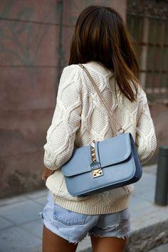 Subtle hues all the way with Valentino Garavani's Lock shoulder bag.