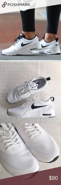 Women's Nike Air Max Thea White + Black Sneakers Women's Nike Air Max Thea White + Black Sneakers is equipped with comfortable cushioning and is designed with a sleek profile for understated style. Style/Color: 599309-103  • Women's size 8.5  • NEW in box (no lid) • No trades •100% authentic Nike Shoes Sneakers