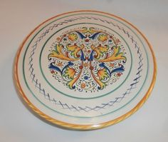 Meridiana Ceramiche Italy Dualing Dragons Pattern Cake Stand Pedestal Plate