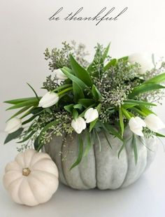 Another great example of a pumpkin centerpiece - this time with flowing seeded eucalyptus and crisp white tulips. Shop seeded eucalyptus, tulips, and other popular flowers and greens at GrowersBox.com!