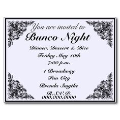 Bunco Night Vintage Victorian Invitation Post Card - You can change the background color to your own color style.
