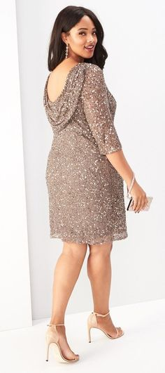 Plus Size Draped Back Beaded Dress