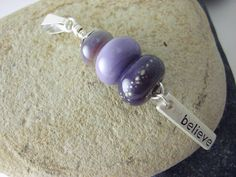 Lampwork Pendant purple wire wrapped Jewelry Pendant  by shoozles