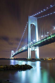 Verrazano-Narrows Bridge connecting Bay Ridge, Brooklyn to Staten Island, NY | Verrazano Bridge on Top of Rocks by Laura Keller