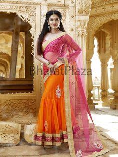 Miraculous orange and pink color net kalidar lehenga saree decorated with glossy stones, kundan, pearls. Item Code : SKD6055 http://www.bharatplaza.com/new-arrivals/sarees.html