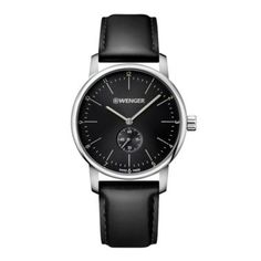 5949551785c1 Wenger Urban Classic Men s 42Mm Watch In Stainless Steel With Black Leather  Strap Classic Man