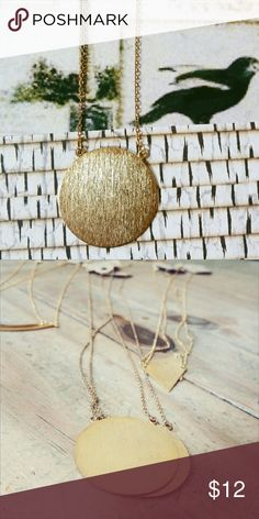 • Gold Circular Pendant Necklace • Cute necklace that can be layered with other pieces! Perfect for dressing up, or down. Style to your taste! • chain measures 26 inches in total • pendant is 1.5 inch in diameter • price firm unless bundled. I offer a 15% bundle discount. Ask any more questions you may have in the comments below! Jewelry Necklaces