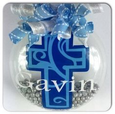 Personalized Swirly Cross Christmas Ornament by SparklesandSpice11 on Etsy